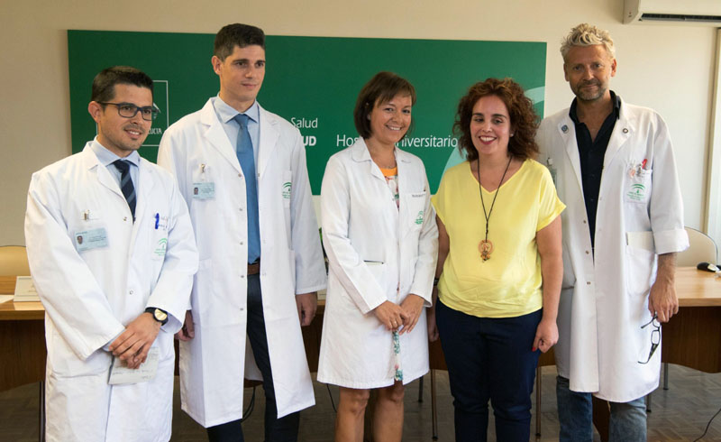 Juan Aguilar, Juan Solivera, Valle García, Beatriz Molina, Francisco Muñoz antes de comenzar la rueda de prensa