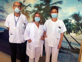 Responsables de Enfermería en una de las nuevas salas de confort de Salud Mental